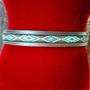 Like new genuine leather turquoise southwest belt